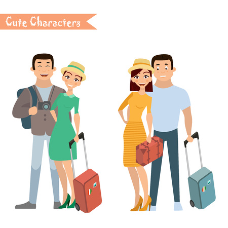 People and family traveling on vacation. Family travel. Father mother, son and daughter at the airport. Vector illustration in a flat style