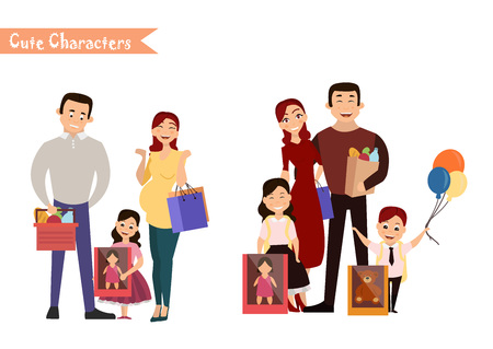Set of characters and people shopping. Vector illustration of a flat design. Happy family shopping Illustration