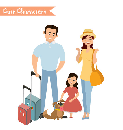 People and family traveling on vacation. Family travel. Father mother, son and daughter at the airport. Vector illustration in a flat style Stock Vector - 78098825