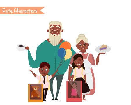 Conjunto de caracteres y personas de compras. Vector ilustración de un diseño plano. compras de la familia feliz