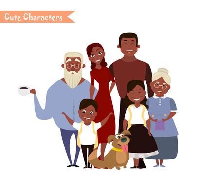 Gran retrato de familia feliz. Tres generaciones: abuelos, padres e hijos de diferentes edades juntos.