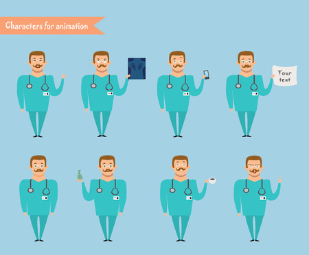 Smart doctor presenting in various action. character design. doctor and healthcare concept - vector illustration - stock vector Illustration