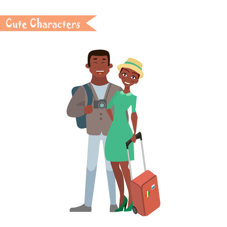 People and family traveling on vacation. Family travel. Husband and wife at the airport. Vector illustration in a flat style