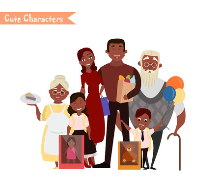 mujer en el supermercado: Set of characters and people shopping. Vector illustration of a flat design. Happy family shopping. Vectores