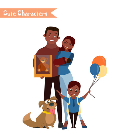 Set of characters and people shopping. Vector illustration of a flat design. Happy family shopping Vectores