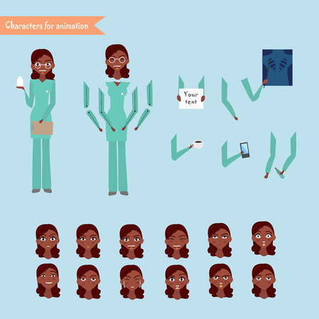 Nurse at work, vector illustration of cheerful nurse set for animation