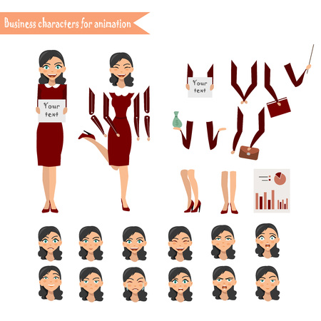Pupil character for your scenes. Parts of body template for design work and animation Ilustrace