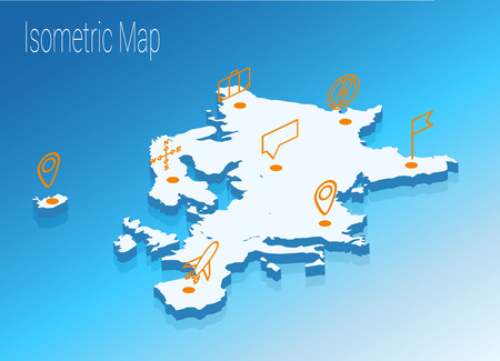 high speed internet: Map Europe isometric concept. 3d flat illustration of Map Europe.