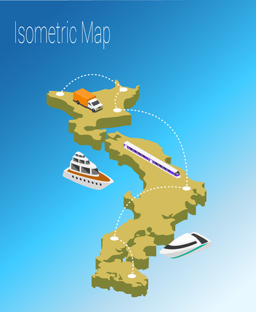 high speed internet: Map Japan isometric concept. 3d flat illustration of Map Japan.