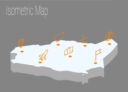 high speed internet: Map Saudi Arabia isometric concept. 3d flat illustration of Map Saudi Arabia.