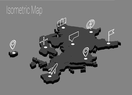 high speed train: Map Europe isometric concept. 3d flat illustration of Map Europe.