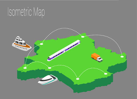 high speed internet: Map France isometric concept. 3d flat illustration of Map France.