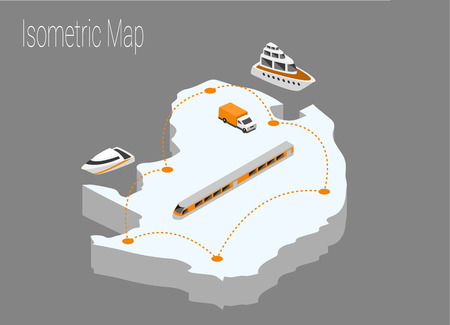high speed train: Map North Africa isometric concept. 3d flat illustration of Map North Africa.