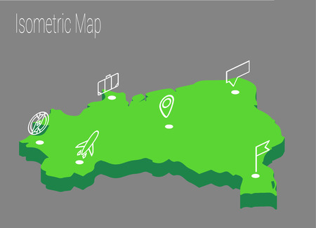 high speed internet: Map Brazil isometric concept. 3d flat illustration of Map Brazil. Illustration