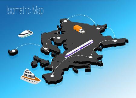 Map Turkey isometric concept. 3d flat illustration of Map Turkey Illustration