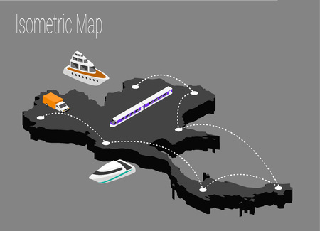 high speed train: Map Thailand isometric concept. 3d flat illustration of Map Thailand.