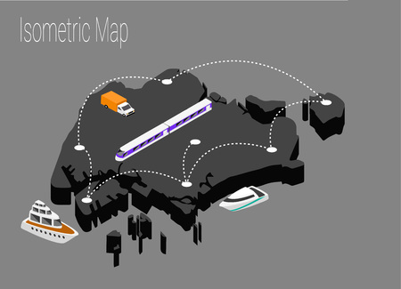 Map Singapore isometric concept. 3d flat illustration of Map Singapore.