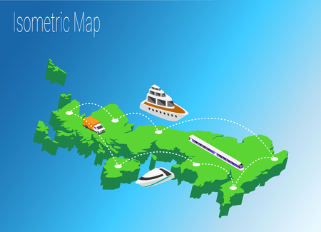 high speed train: Map United Kingdoml isometric concept. 3d flat illustration of Map United Kingdom.