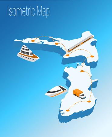 high speed train: Map new Zealand isometric concept. 3d flat illustration of Map new Zealand. Illustration