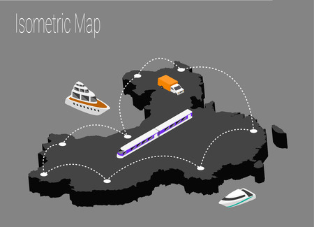 high speed train: Map China isometric concept. 3d flat illustration of Map China.