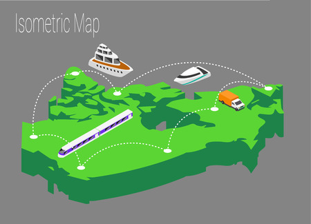 high speed train: Map Canada isometric concept. 3d flat illustration of Map Canada Illustration