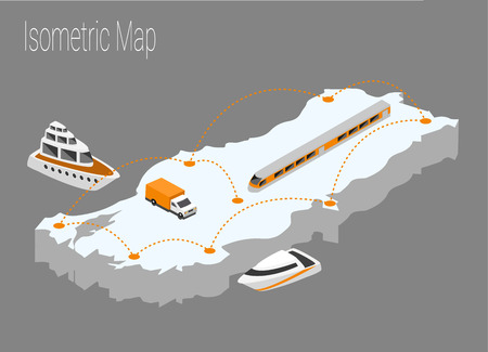 high speed train: Map Turkey isometric concept. 3d flat illustration of Map Turkey Illustration