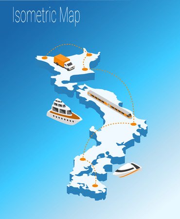 high speed train: Map Japan isometric concept. 3d flat illustration of Map Japan.