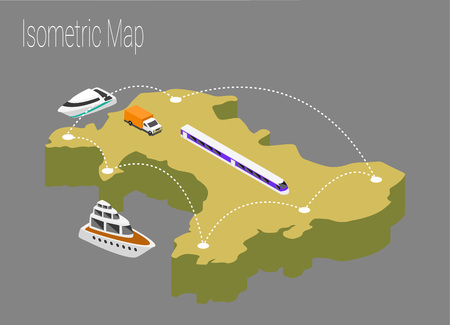 high speed train: Map Wales isometric concept. 3d flat illustration of Map Wales.
