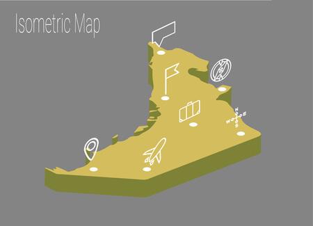 high speed train: Map United Arab Emirates isometric concept. 3d flat illustration of Map UAE.