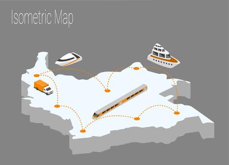 地図コロンビアアイソメ概念。地図コロンビアの3d フラットイラスト。  イラスト・ベクター素材