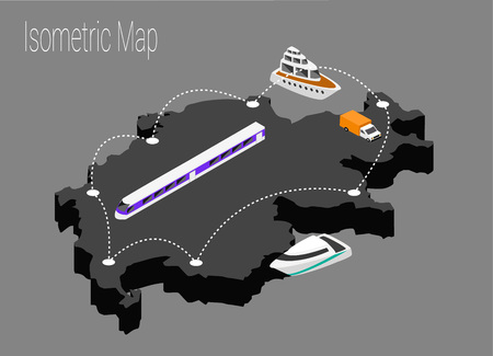 high speed train: Map Switzerland isometric concept Illustration