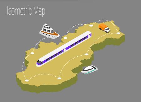 Map Slovakia isometric concept. 3d flat illustration of Map Slovakia.