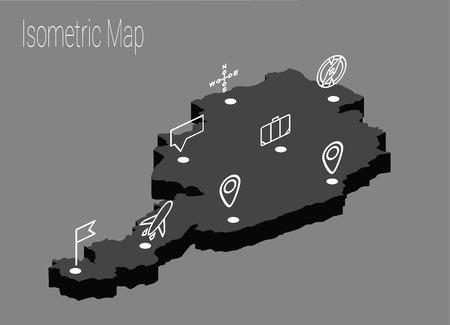 Map Austria isometric concept. 3d flat illustration of Map Austria.