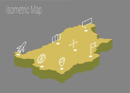 high speed train: Map Bulgaria isometric concept. 3d flat illustration of Map Bulgaria.