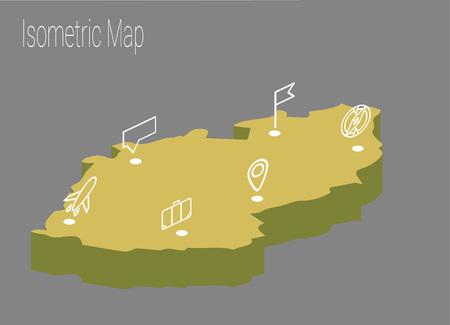 Map Czech Republic isometric concept. 3d flat illustration of Map Czech