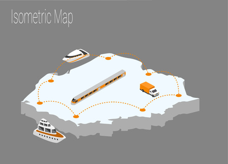 Map Poland isometric concept. 3d flat illustration of Map Poland. Illustration