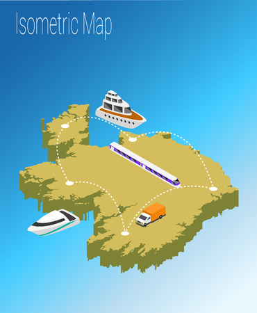 Map Ireland isometric concept. 3d flat illustration of Map Ireland.