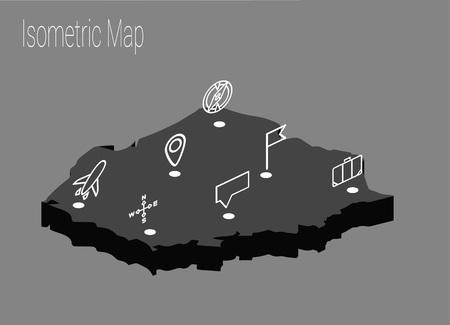 Map Poland isometric concept.