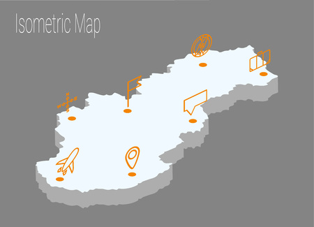 Map Slovakia isometric concept. 3d flat illustration of Map Slovakia.