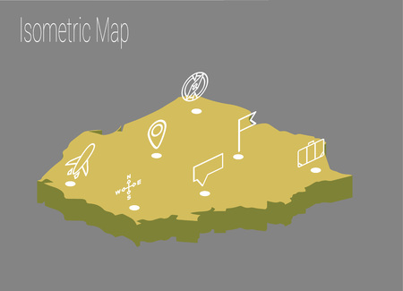 Map of Poland isometric concept.