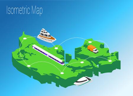 high speed train: Map Denmark isometric concept. 3d flat illustration of Map Denmark. Illustration