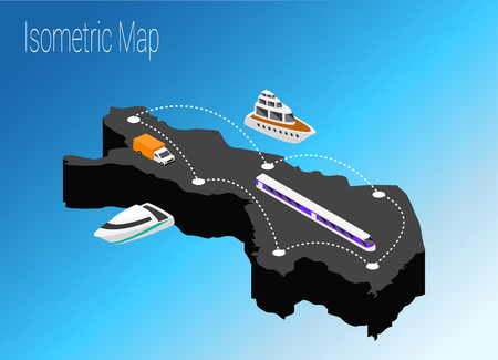 Map Finland isometric concept. 3d flat illustration of Map Finland.
