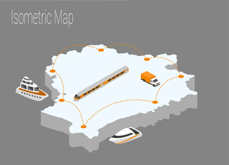 high speed train: Map Belarus isometric concept. 3d flat illustration of Map Belarus.