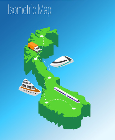 high speed train: Map Norway isometric concept. 3d flat illustration of Map Europe. Illustration