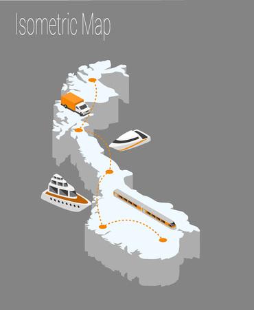 Mappa Norvegia concetto isometrica. Illustrazione piana 3d della mappa Europa. Archivio Fotografico - 89905389