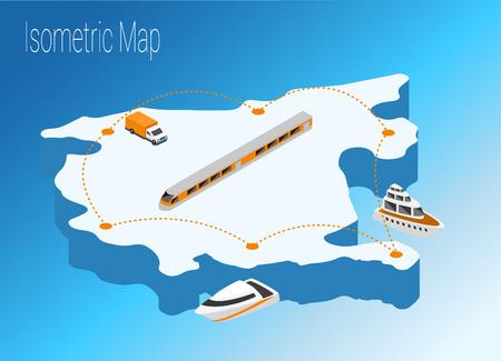 Map Montenegro isometric concept. 3d flat illustration of Map Montenegro.