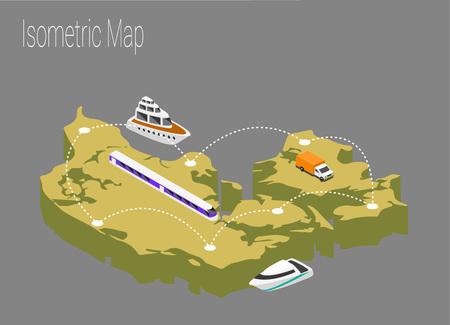 Map Sweden isometric concept. 3d flat illustration of Map Sweden.