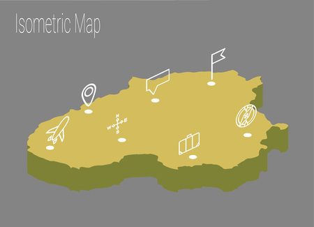 Map Lithuania isometric concept. 3d flat illustration of map Lithuania.
