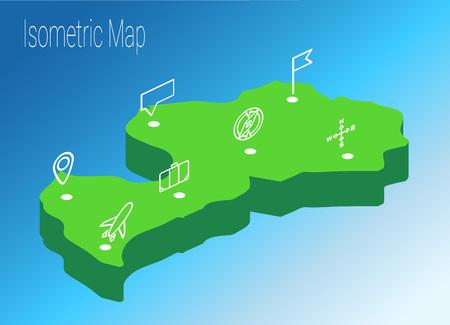 Map Latvia isometric concept. 3d flat illustration of Map Europe.