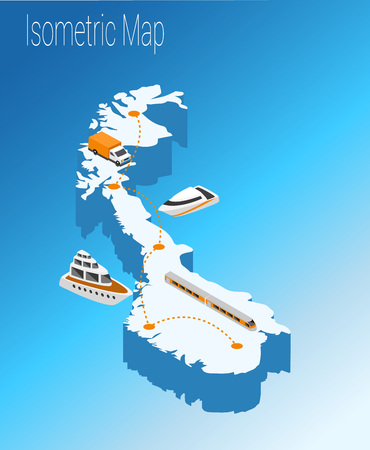 Map Norway isometric concept. 3d flat illustration of Map Europe. Illustration